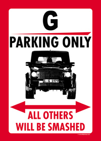 "Parkschild ""G PARKING ONLY"""
